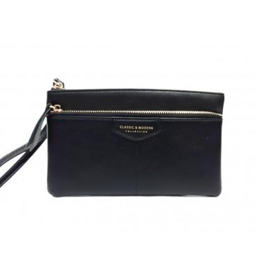Женский кошелек - клатч от ТМ YAMEI из качественной эко-кожи в черном цвете / T4625-004-1 / 19*11*1