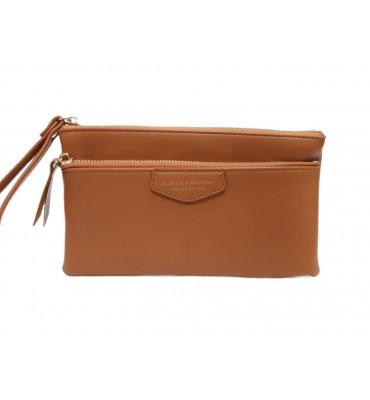 Женский кошелек - клатч от ТМ YAMEI из качественной эко-кожи в горчичном цвете / T4625-004-3 / 19*11*1