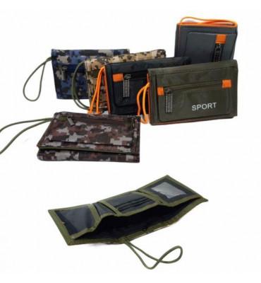 Детский кошелек для мальчиков, тройного сложения на липучке, выполненный из текстиля ТМ SPORT 12.5 * 8 * 2