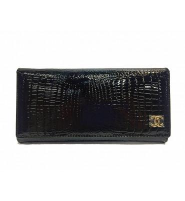 Кошелек женский натуральная кожа Шанель (реплика) B 9045 B 10х18.5х3 черный