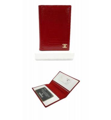 Обложка для паспорта натуральная кожа ШАНЕЛЬ (реплика) B9012 14х10х0.5 черный