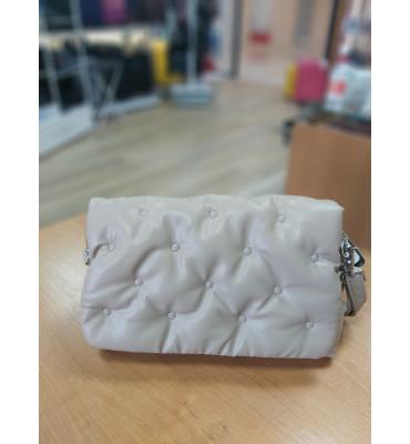 Женская сумка из качественной экокожи, цвет бежевый, 27-16-8,5 см