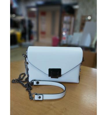 Женская кожаная сумка TM Borse in Pelle (Италия) / размер 21-13-8 см / цвет белый