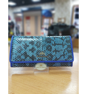 Женский кошелек из натуральной кожи от бренда Wittchen Snake / цвет синий ультрамарин / размер 11-19-2 см