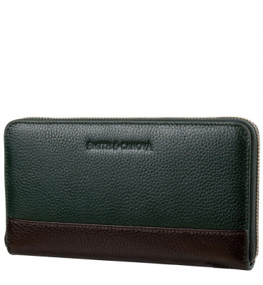 Женский кожаный кошелек Smith & Canova (Англия) / размер 11х20х2 см / цвет серый